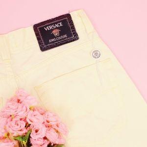 Vintage Versace Pastel Yellow Straight Leg Pants